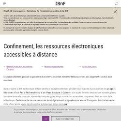 Confinement, les ressources électroniques accessibles à distance