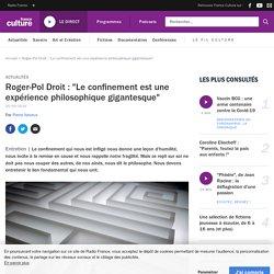 """Roger-Pol Droit : """"Le confinement est une expérience philosophique gigantesque"""""""