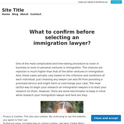 What to confirm before selecting an immigration lawyer? – Site Title