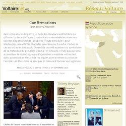 Confirmations : L'échec de l'accord russo-états-unien du 9 septembre