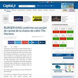 BURGER KING confirme son projet de rachat de la chaîne de cafés Tim Hortons