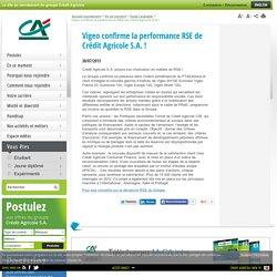 Vigeo confirme la performance RSE de Crédit Agricole S.A. !