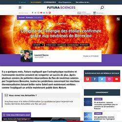 L'origine de l'énergie des étoiles confirmée grâce aux neutrinos de Borexino