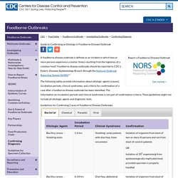 CDC 31/01/17 Guide to Confirming an Etiology in Foodborne Disease Outbreak