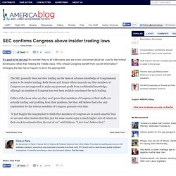 SEC confirms Congress above insider trading laws