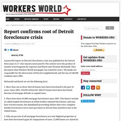 Report confirms root of Detroit foreclosure crisis – Workers World
