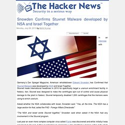 NSA & Israel Developed STUXNET Together
