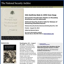 CIA Confirms Role in 1953 Iran Coup