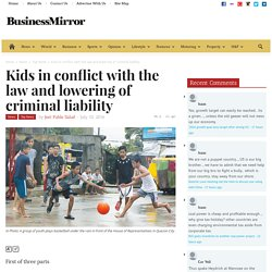 Kids in conflict with the law and lowering of criminal liability