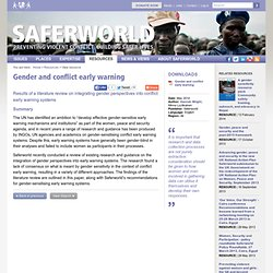 Gender and conflict early warning - View resource - Saferworld