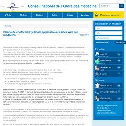Charte de conformité ordinale applicable aux sites web des médecins