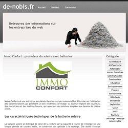 Immo Confort : promoteur du solaire avec batteries