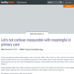 Let's not confuse measurable with meaningful in primary care