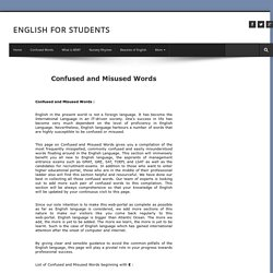 Confused and Misused Words, Vocabulary