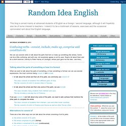 Random Idea English: Confusing verbs - consist, include, make up, comprise and constitute etc