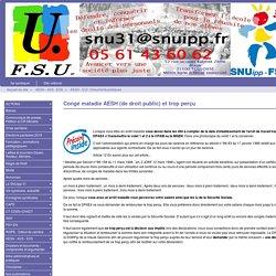 Congé maladie AESH (de droit public) et trop perçu - SNUipp-FSU 31