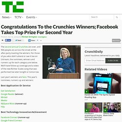 Congratulations To the Crunchies Winners; Facebook Takes Top Pri