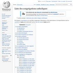 Liste des congrégations catholiques
