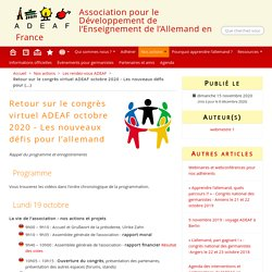 Congrès virtuel ADEAF octobre 2020 - Les nouveaux défis pour l'allemand - ADEAF