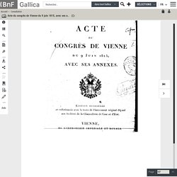Acte du congrès de Vienne du 9 juin 1815, avec ses annexes ([Reprod.])