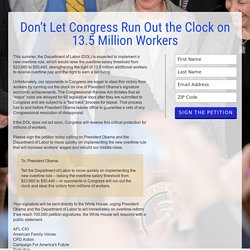 Don't Let Congress Run Out the Clock on 13.5 Million Workers