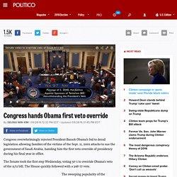 Congress hands Obama first veto override