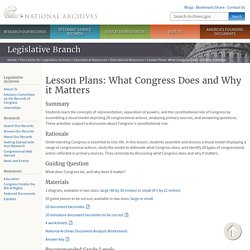 Lesson Plans: What Congress Does and Why it Matters