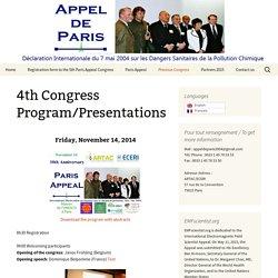 Programme/Présentations 4ème Colloque -