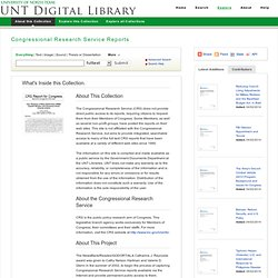 Congressional Research Service Reports: About this Collection: UNT Digital Library
