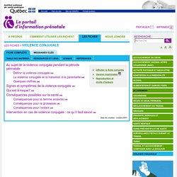 Violence conjugale - INSPQ - Portail d'information prénatale