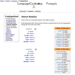 French Conjugations: -Almost Regular -LanguageGuide.org