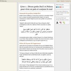 Livre 1: Divers petits Du'â' et Prières pour vivre en paix et conjurer le mal