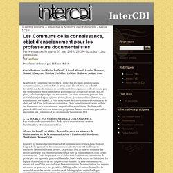 Les Communs de la connaissance, objet d'enseignement pour les professeurs documentalistes - InterCDI