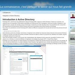 La connaissance, c'est partager le savoir qui nous fait grandir. : Intégration à Active Directory