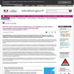Nouveau socle commun de connaissances, de compétences et de culture : large adoption par le Conseil supérieur de l'éducation