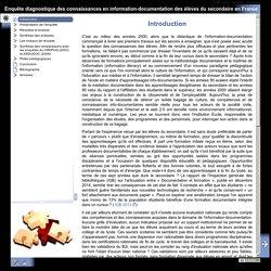 Enquête diagnostique des connaissances en information-documentation des élèves du secondaire en France - Introduction