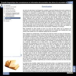 Enquête diagnostique des connaissances en information-documentation des élèves du secondaire en France - Conclusion (APDEN, 2015)