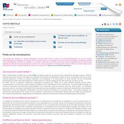 Points sur les connaissances / Santé mentale / Travail et santé