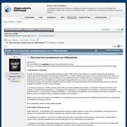 Etat actuel des connaissances sur l'effet placebo - Forum zététique