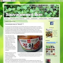 """Sauvagement-Bon: Connaissez-vous le """"kimchi"""" ?"""