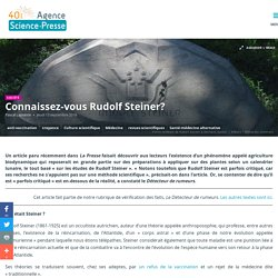 Connaissez-vous Rudolf Steiner?
