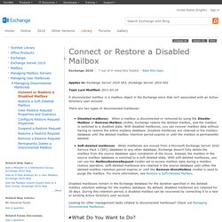 Connect or Restore a Disabled Mailbox: Exchange 2010 Help