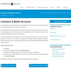 Connect A Bank Account - ProAdvisorForum