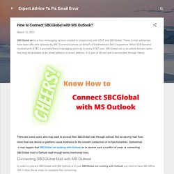 How to Connect SBCGlobal with MS Outlook?