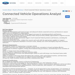 Connected Vehicle Operations Analyst