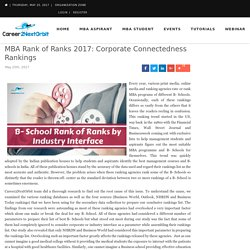 MBA Rank of Ranks 2017: Corporate Connectedness Rankings