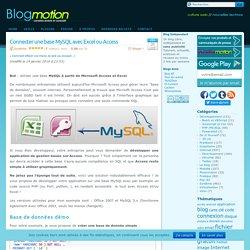 Connecter une base MySQL avec Excel ou Access