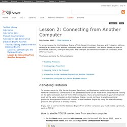 Lesson 2: Connecting from Another Computer