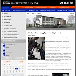 Fab Lab: Connecting physical and digital realms - University of Florida Design, Construction and Planning