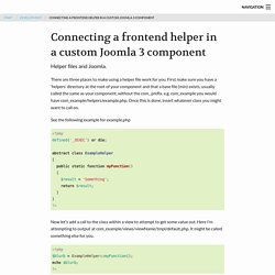Connecting a frontend helper in a custom Joomla 3 component
